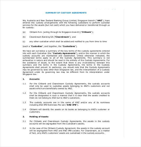 Child Custody Agreements Templates 11 Custody Agreement Templates – Free Sample Example