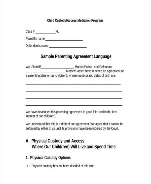 Child Custody Agreements Templates 8 Custody Agreement form Samples Free Sample Example