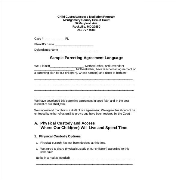 Custody Agreement Template – 10 Free Word PDF Document