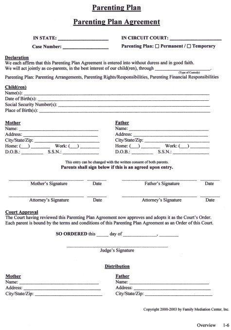 Child Custody Agreements Templates Parenting Agreement