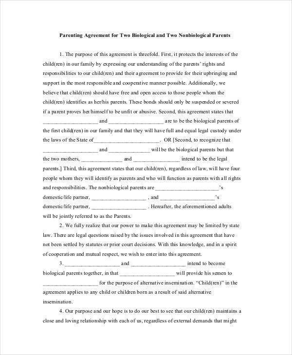 Child Custody Agreements Templates Parenting Agreement Templates 8 Free Pdf Documents