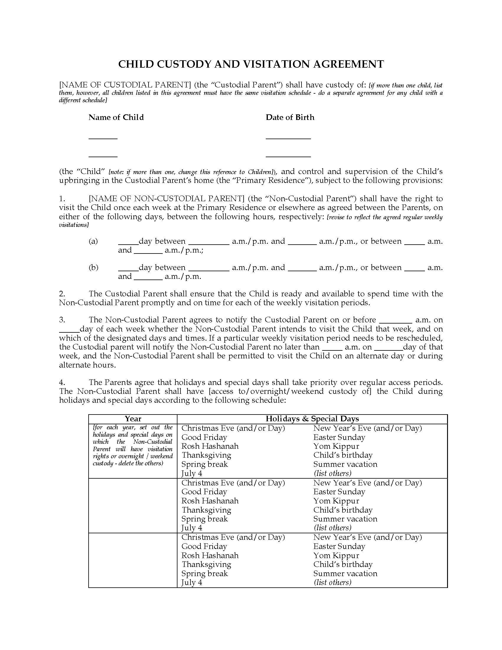 Child Custody Agreements Templates Usa Child Custody and Visitation Agreement Between Parents