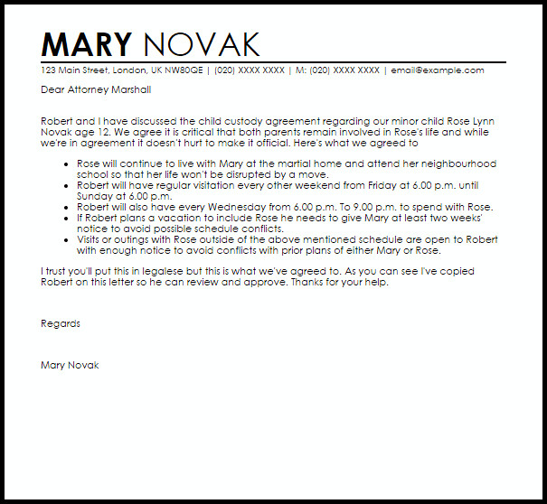 Child Custody Agreement Letter Example