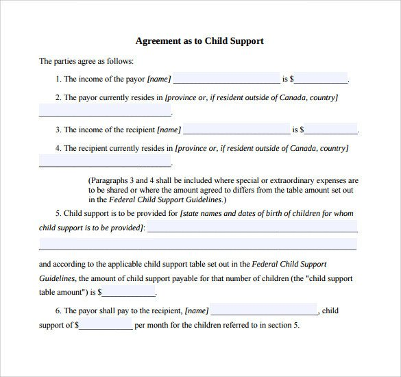 Child Support Agreement Letter 10 Sample Child Support Agreement Templates Pdf