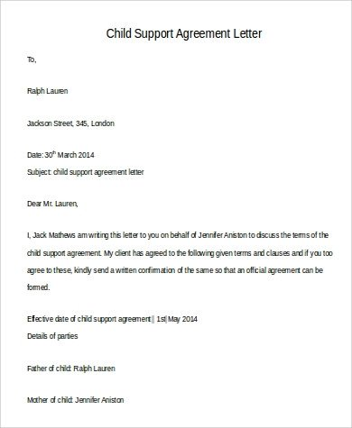 Child Support Agreement Letter 110 Free Letters