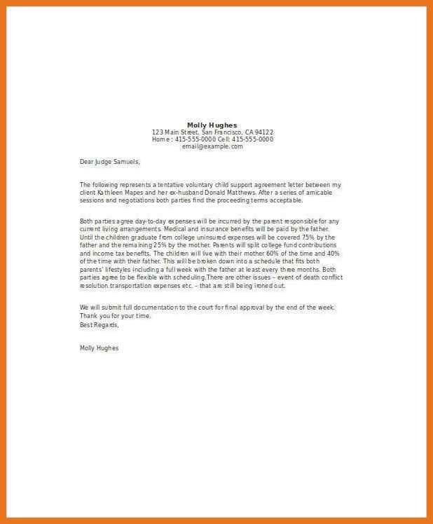 Child Support Agreement Letter 4 5 Child Support Agreement Letter