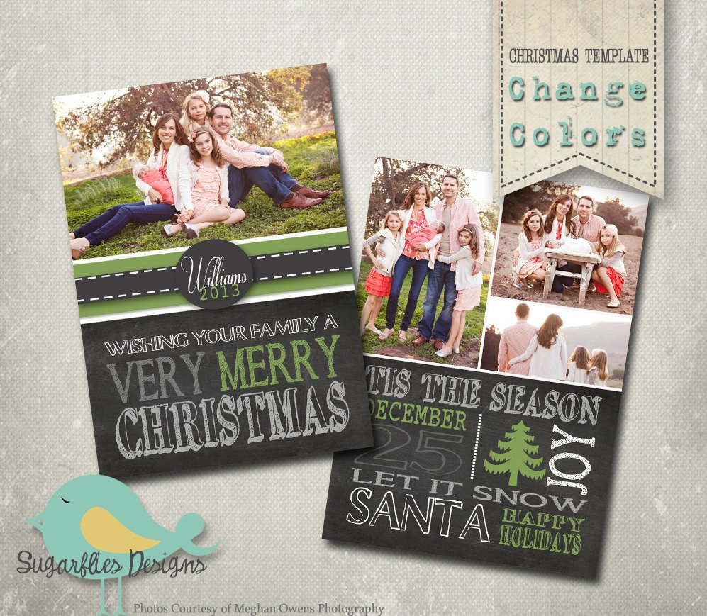 Christmas Card PHOTOSHOP TEMPLATE Family Christmas Card