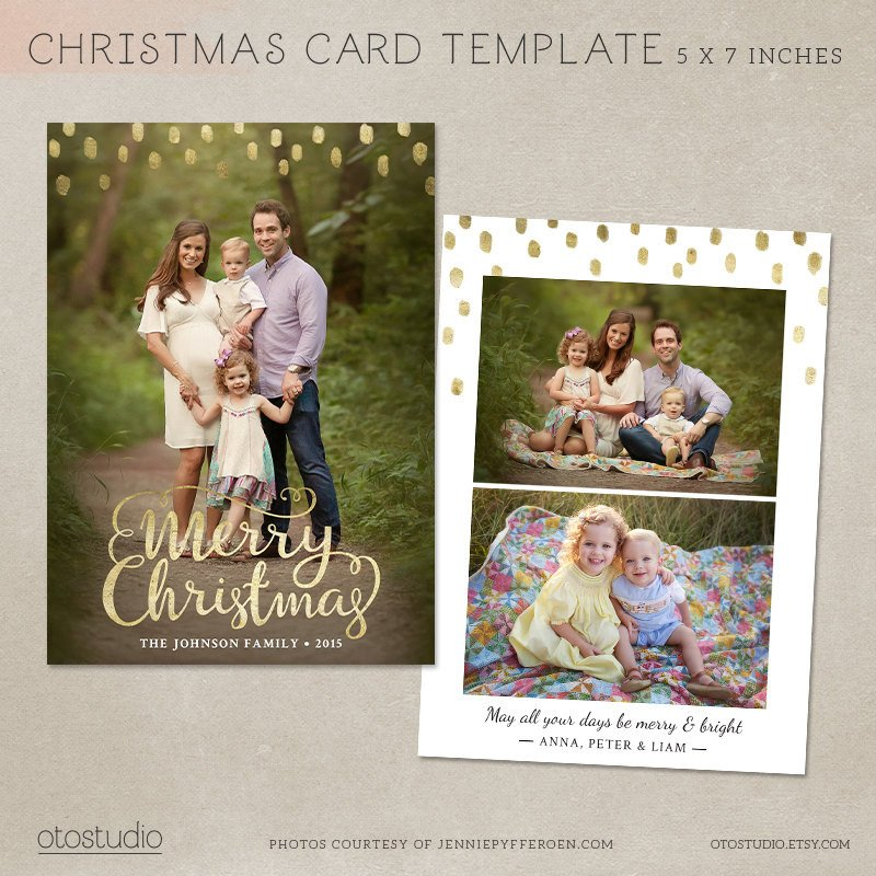 Christmas Card Template shop template 5x7 flat card
