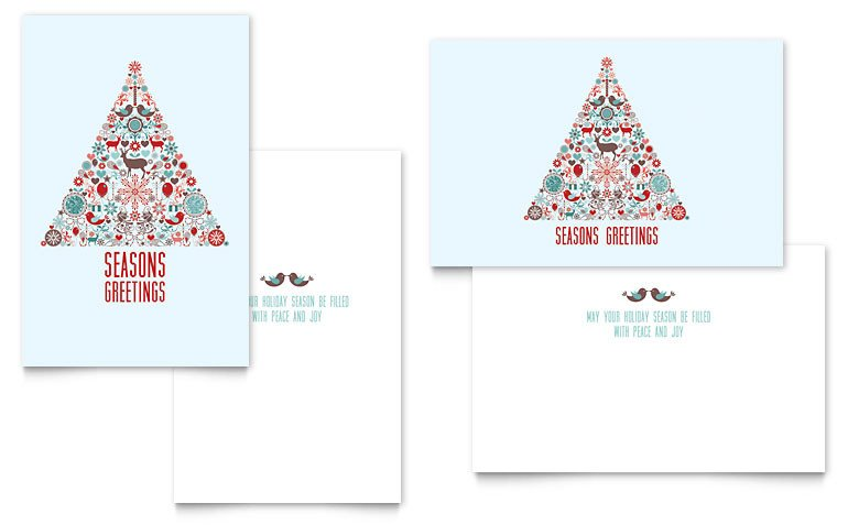 Holiday Art Greeting Card Template Word & Publisher