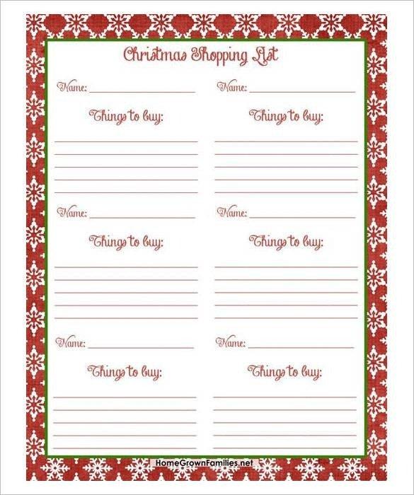 Christmas Gift List Template 24 Christmas Gift List Templates Free Printable Word