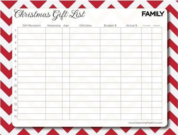 24 Christmas Gift List Templates Free Printable Word