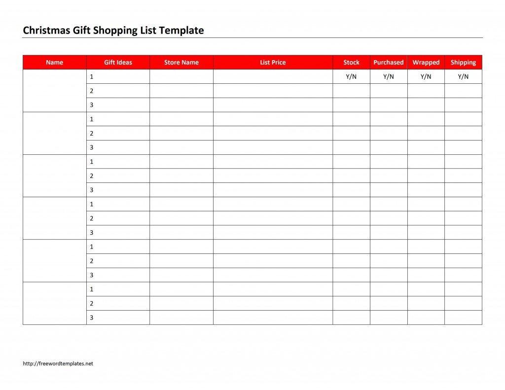 Christmas Gift List Template Christmas Gift Shopping List