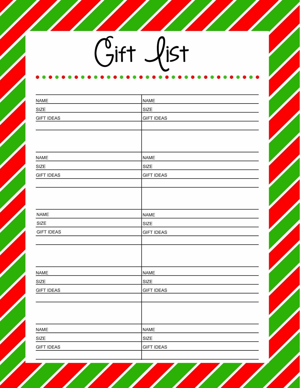 Christmas Gift List Template Free Printable Gift List 25 Days to An organized