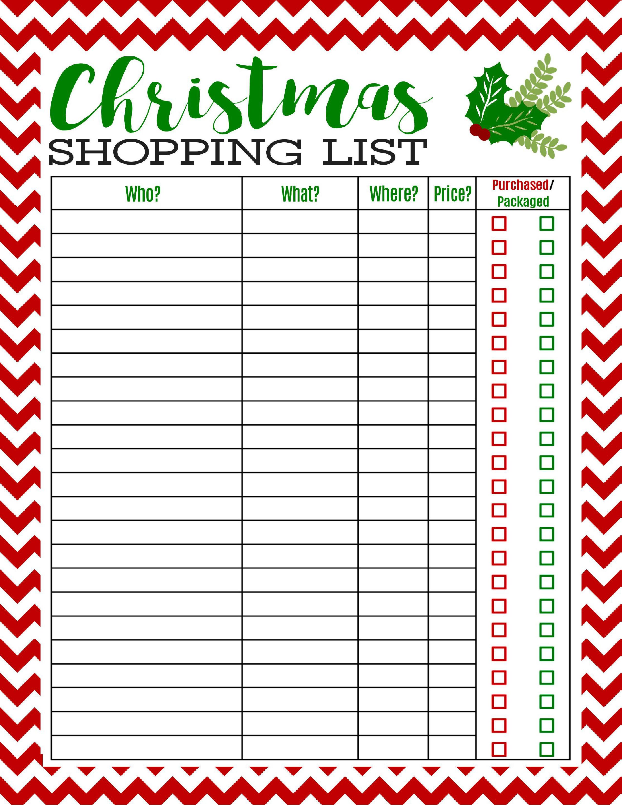 Christmas Gift List Template Freebie Printable Christmas Shopping List Mom 4 Real