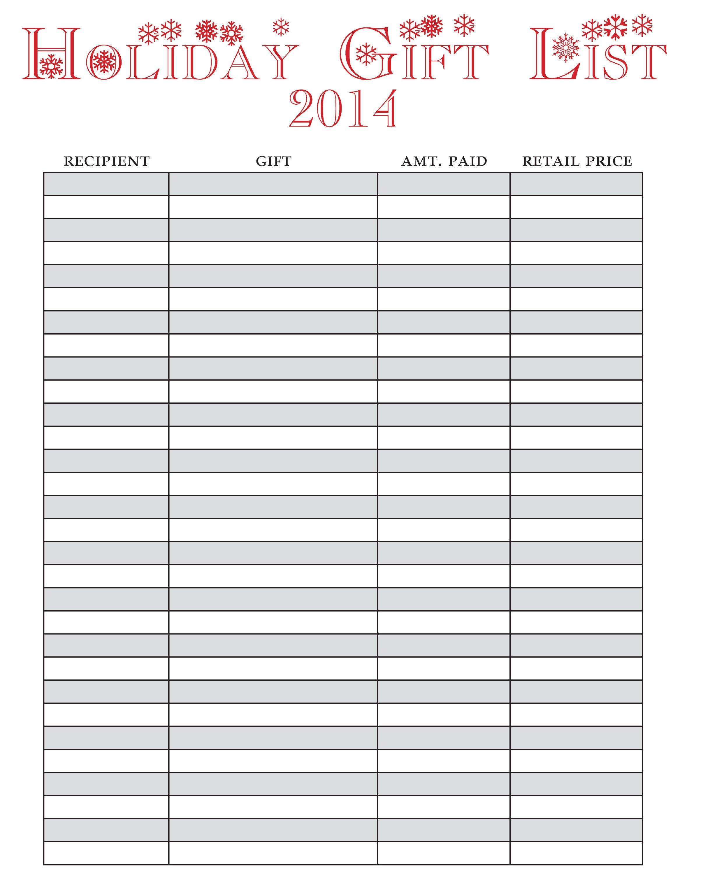 Christmas Gift List Template Holiday Gift List Free Printable E Beautiful Home