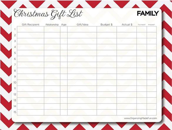 Christmas Gift Lists Templates 27 Christmas Gift List Templates Free Printable Word