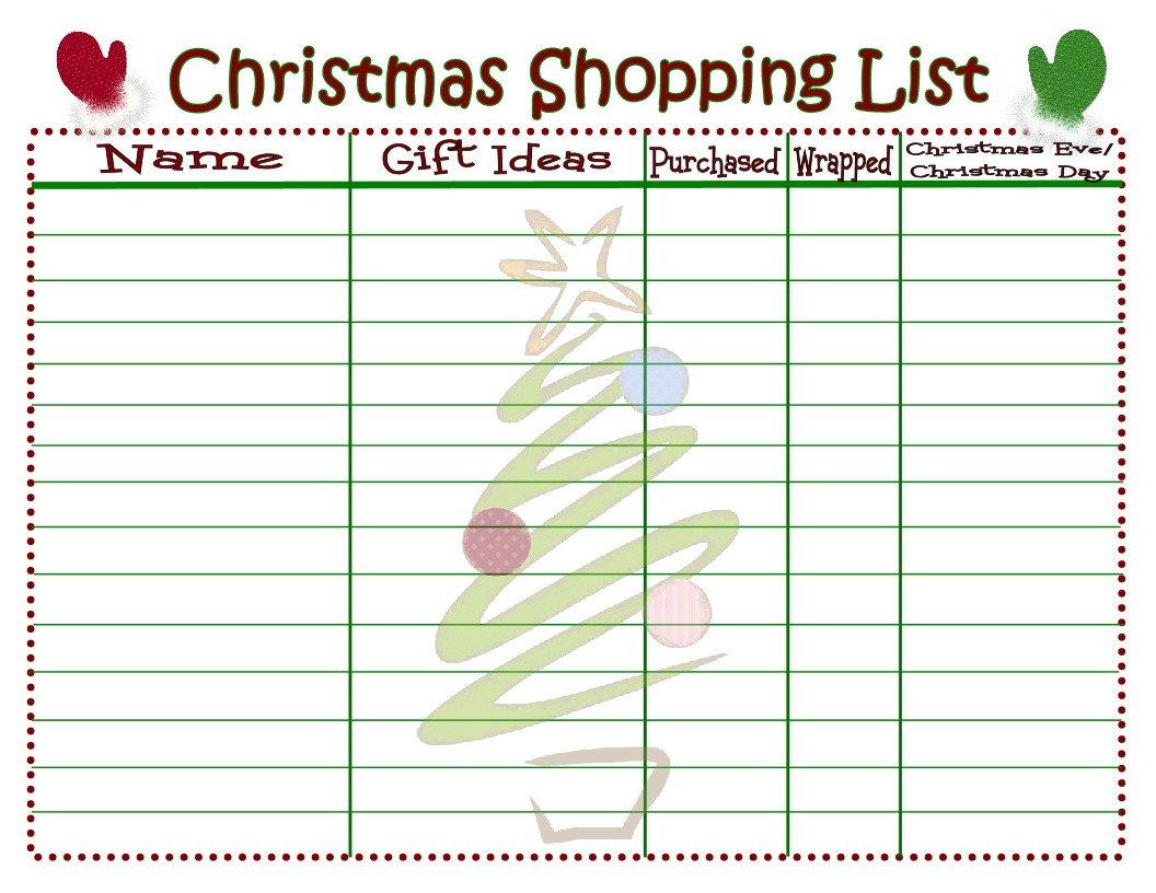 Christmas Gift Lists Templates Christmas Shopping List Printable Mom Timeout