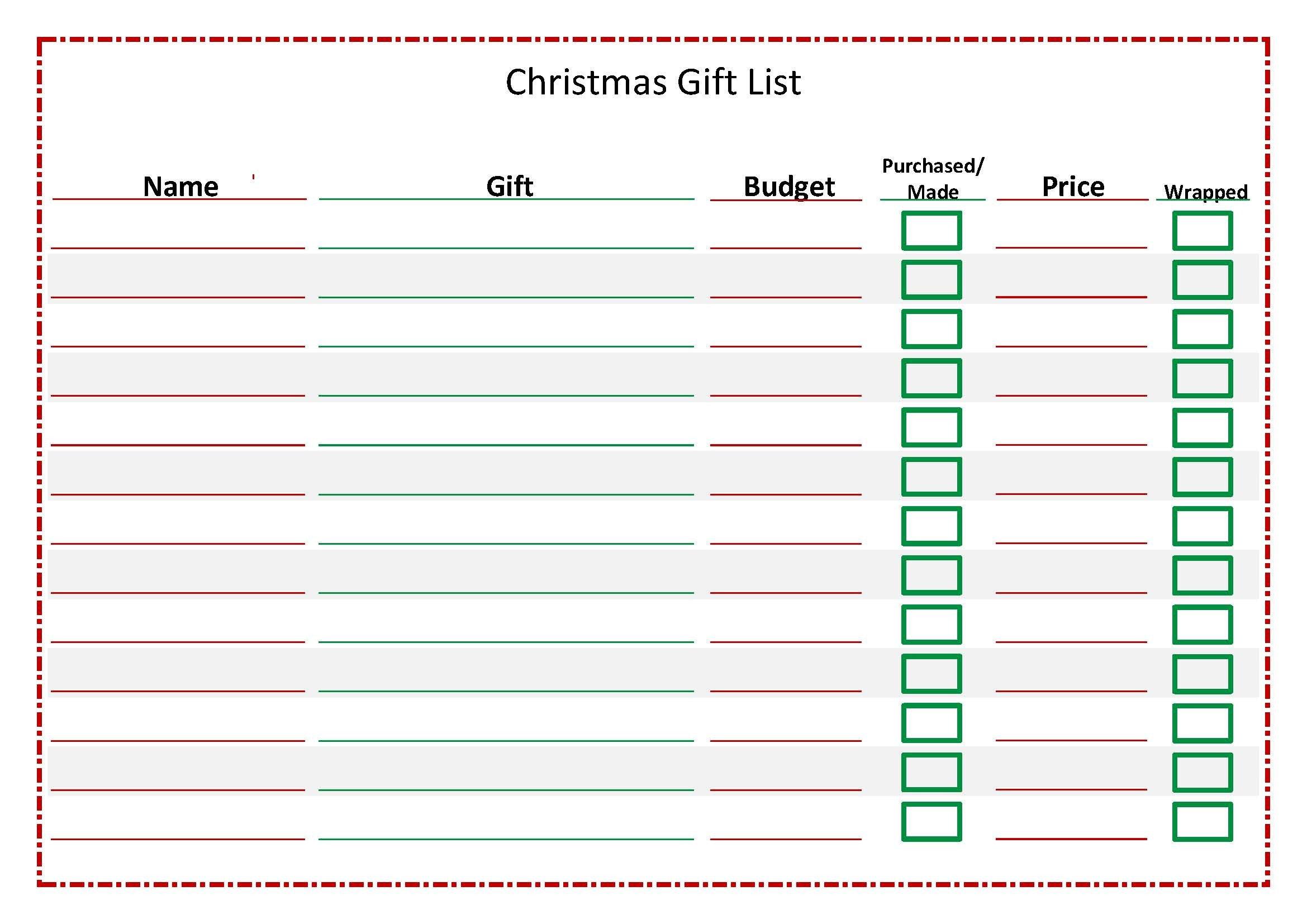 Christmas Gift Lists Templates Christmas T List