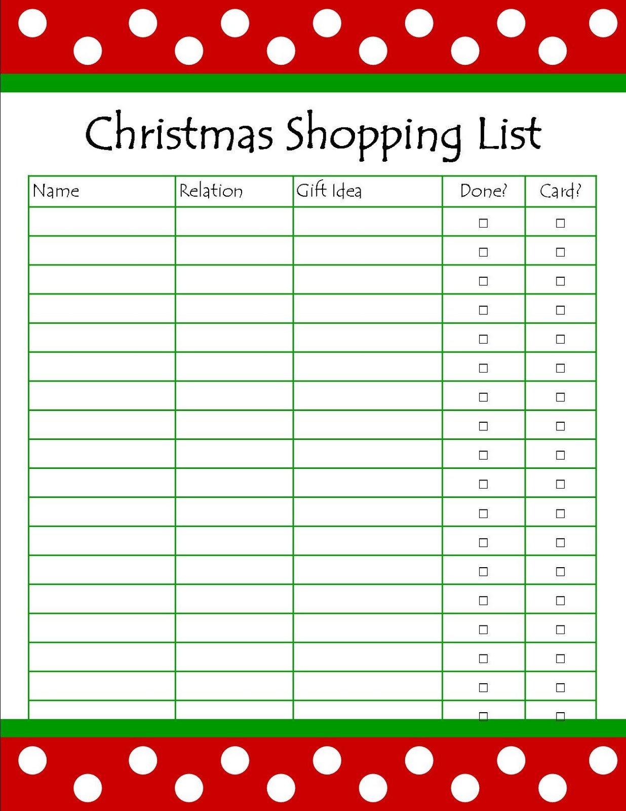 Christmas Gift Lists Templates It S so Splendid Free Printable Christmas Shopping List