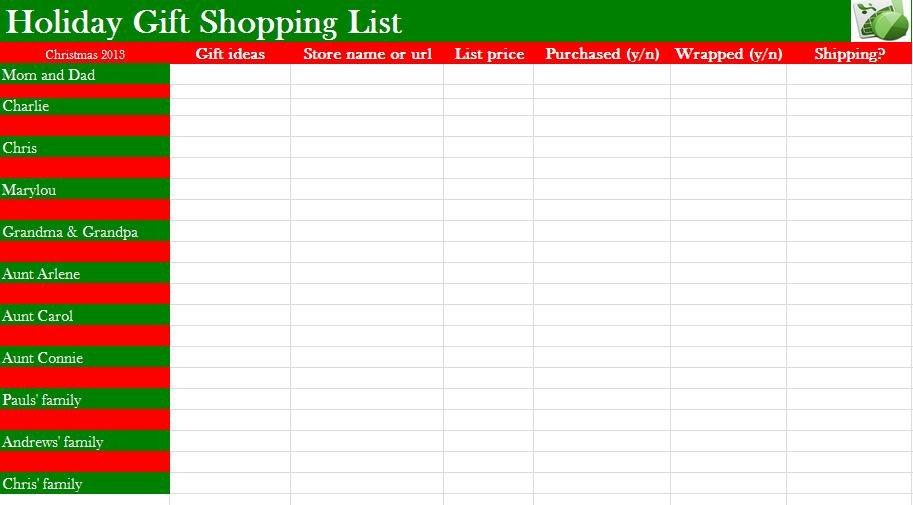 Christmas Gift Lists Templates Printable Christmas Gift List Template