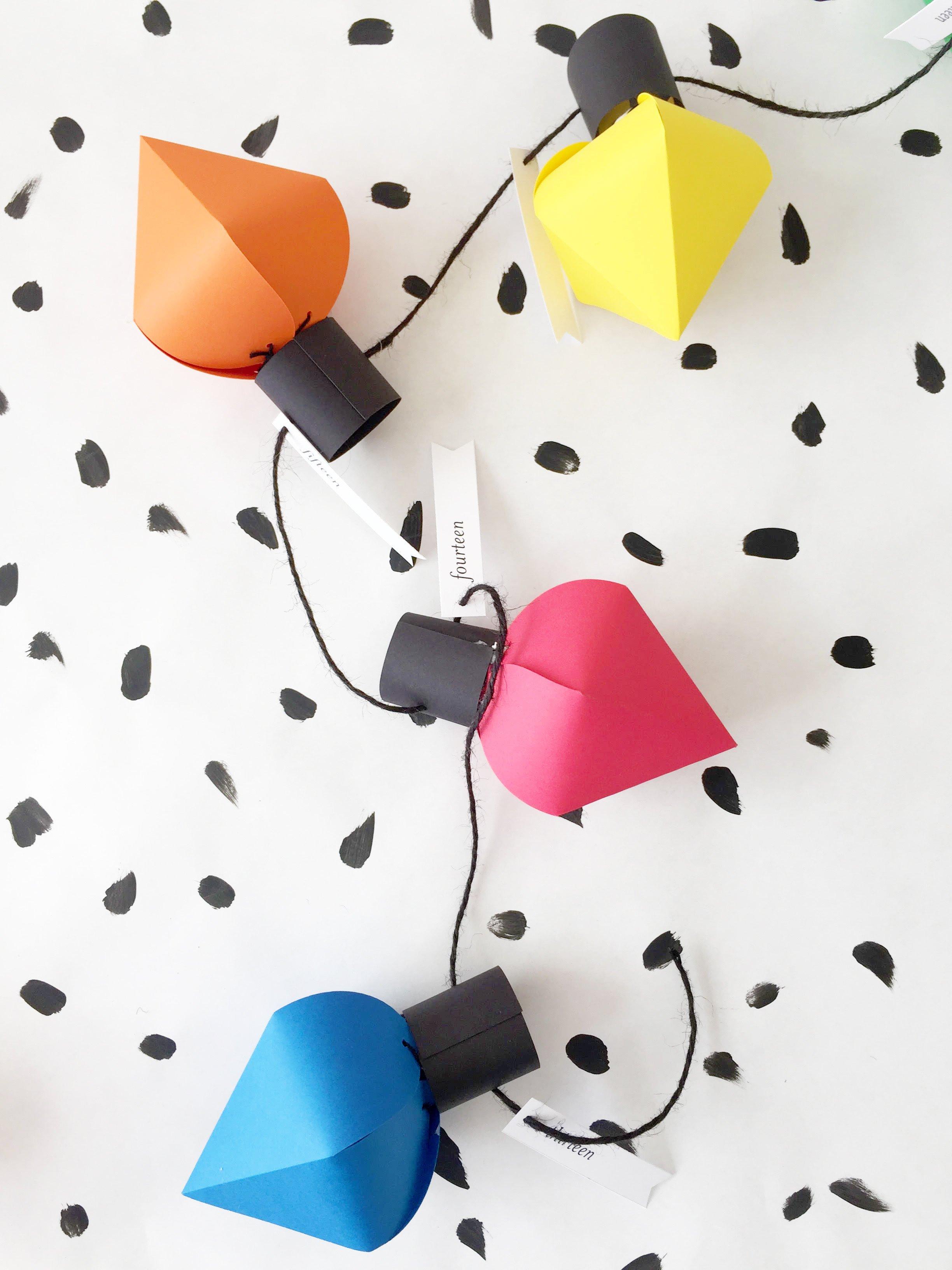 Christmas Light Bulb Cut Outs Diy Christmas Bulb Advent Calendar