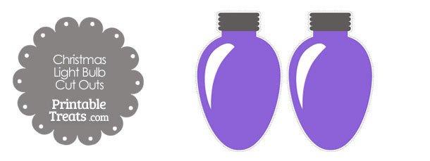 Christmas Light Bulb Cut Outs Purple Christmas Light Bulb Cut Outs — Printable Treats