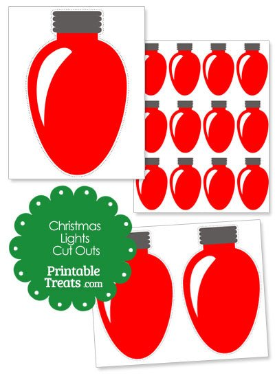 Christmas Light Bulb Cut Outs Red Christmas Lights Cut Outs — Printable Treats