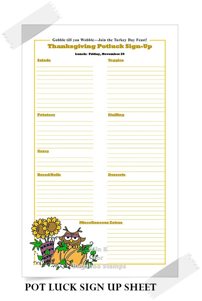 Christmas Potluck Signup Sheet Catch the Bug Challenge Blog Favorite Abc Projects Of