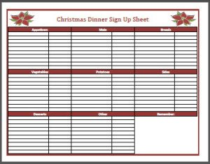 Christmas Potluck Signup Sheet Christmas Dinner Sign Up Sheet