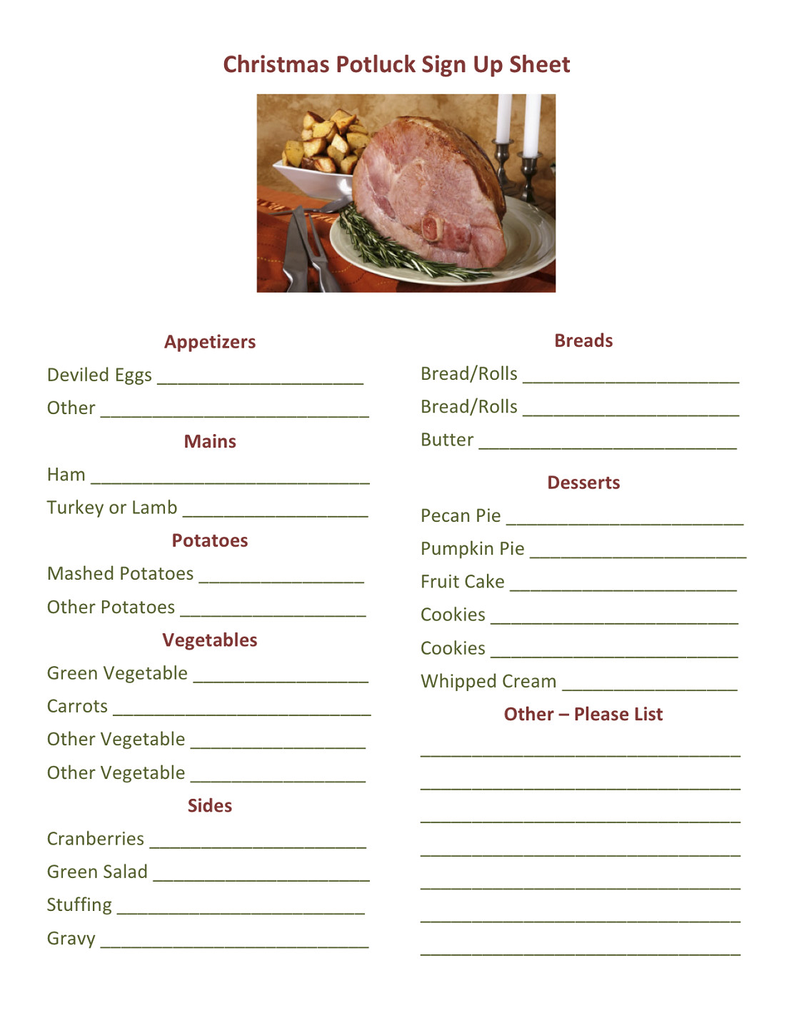 Christmas Potluck Signup Sheet Potluck Dinner Sign Up Sheet Printable