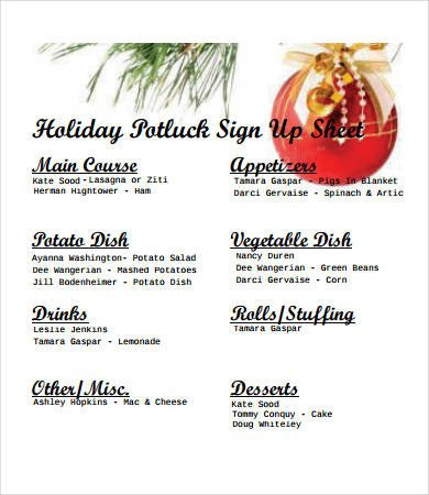 Christmas Potluck Signup Sheet Potluck Signup Sheet 12 Free Pdf Word Documents