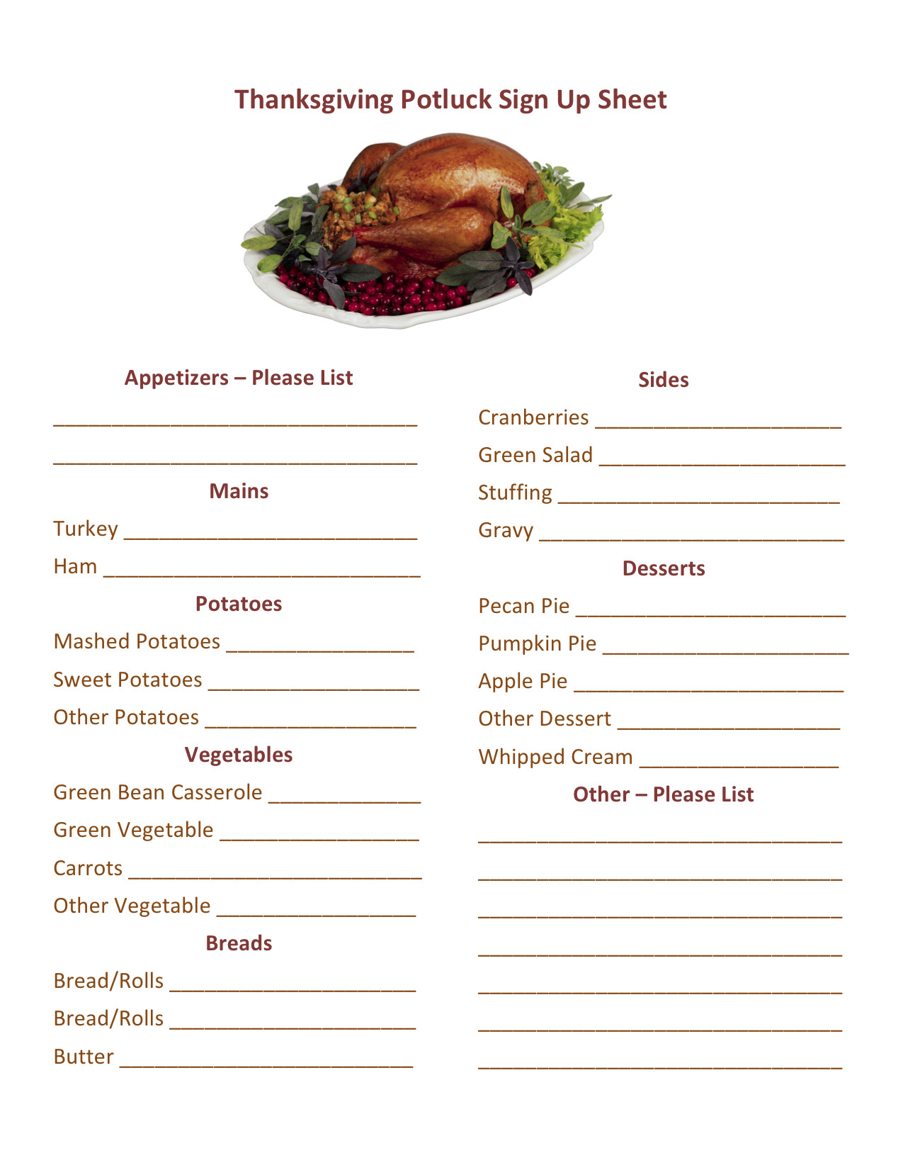 Christmas Potluck Signup Sheet Thanksgiving Potluck Sign Up Printable