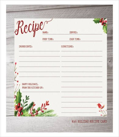 Christmas Recipe Card Template Recipe Card Template 10 Free Pdf Download