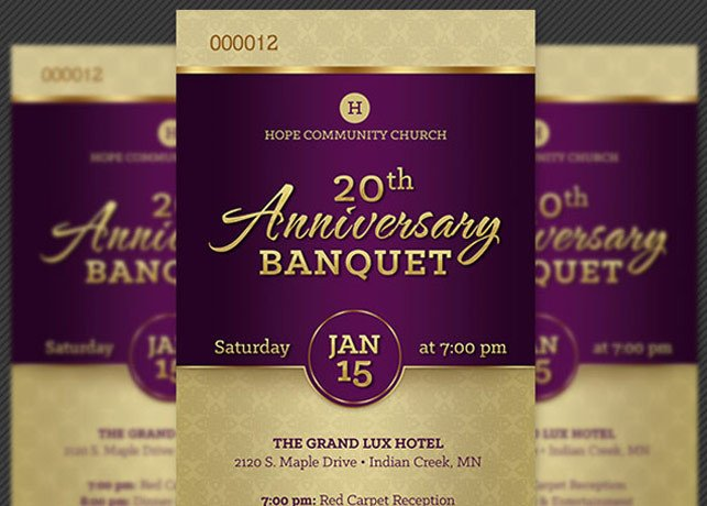 Church Anniversary Program Template Church Anniversary Banquet Ticket Template