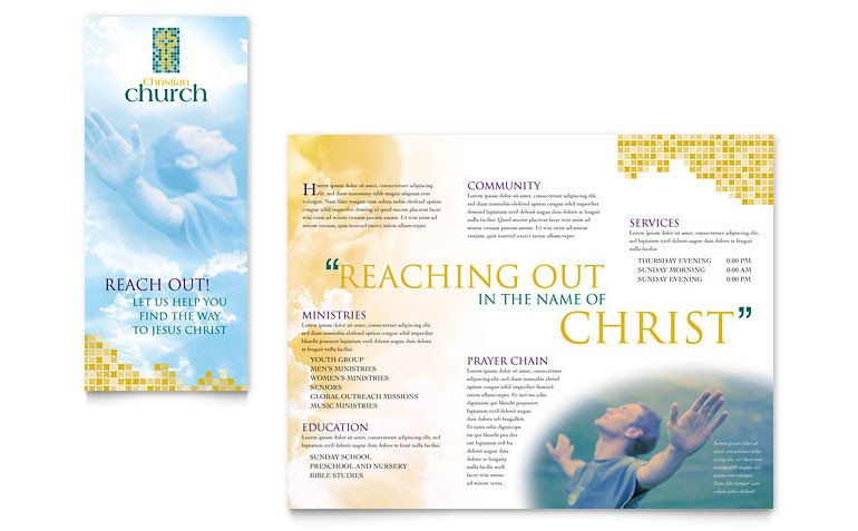 Church Bulletin Templates Microsoft Publisher Christian Church Brochure Template Word & Publisher