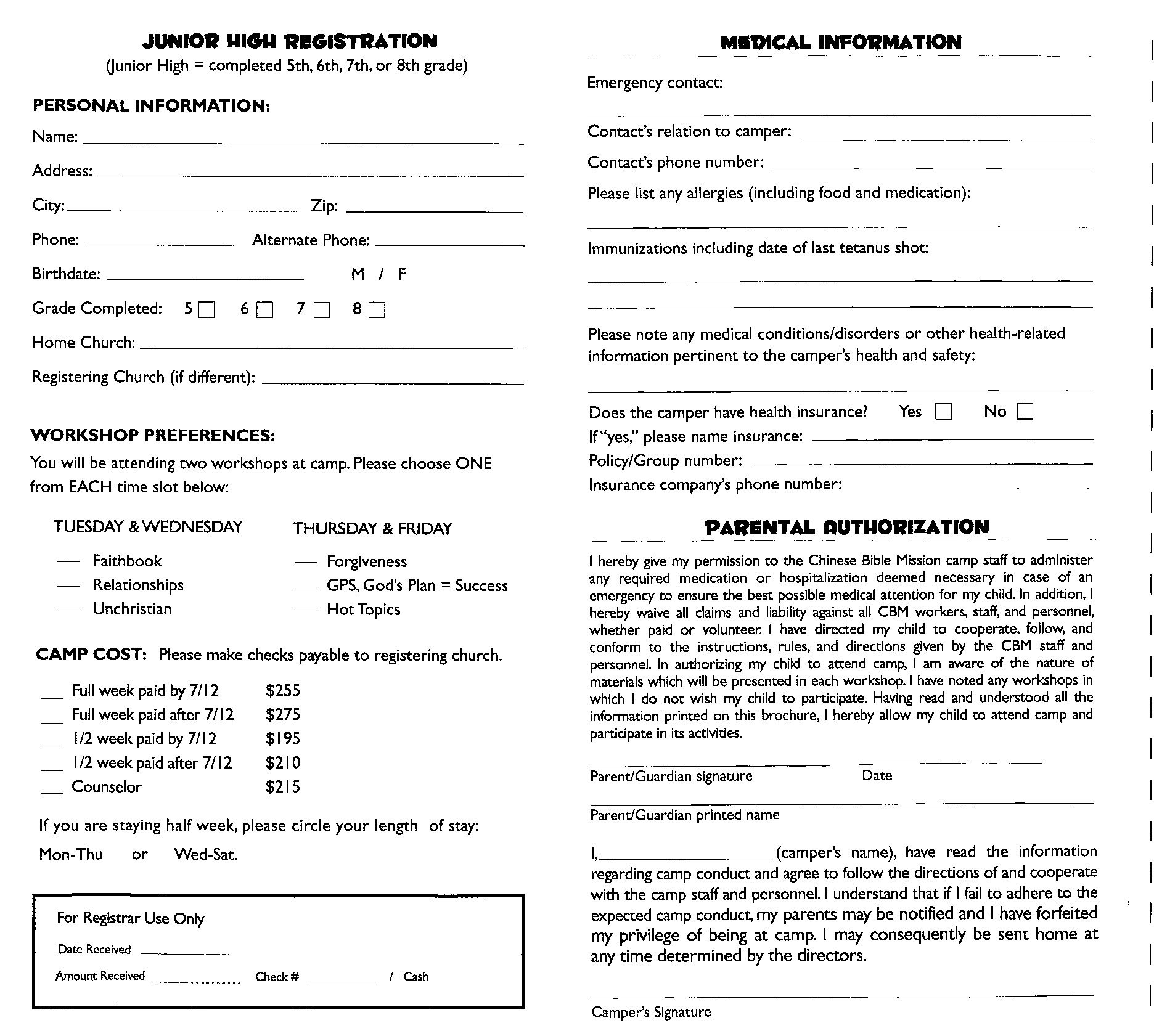 6 Best s of Youth Church Registration Form Youth