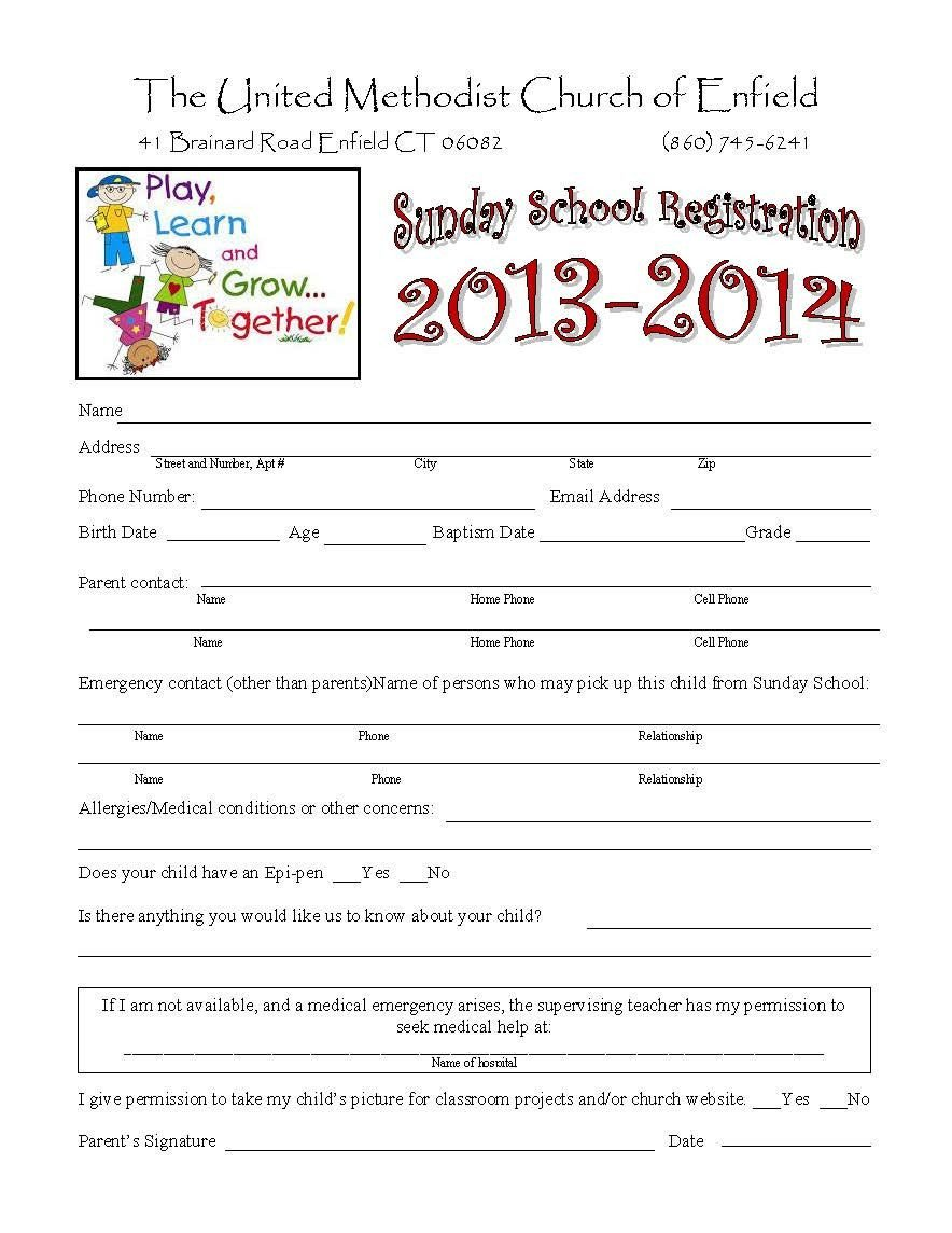 Church Camp Registration form Template Sunday School Registration form Biz Card