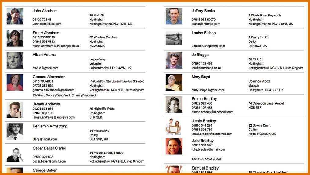 Church Directory Template with Photos Church Directory Template