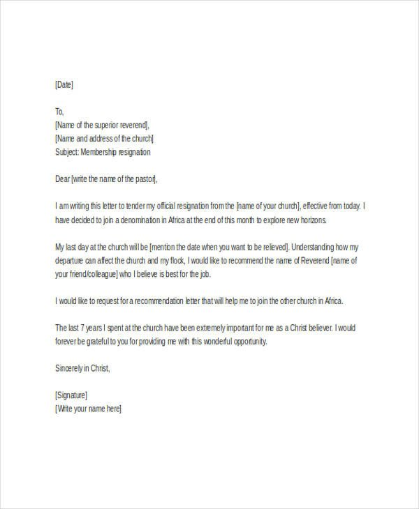 Church Resignation Letter Template 9 Free Word PDF