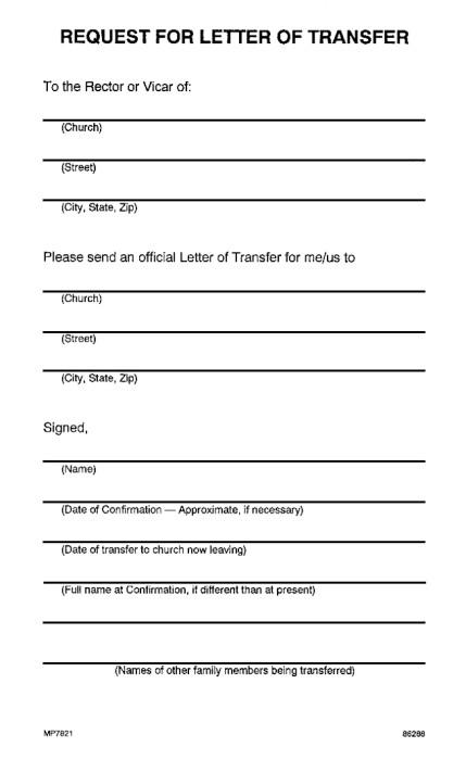 Church Membership Transfer Letter Churchpublishing Request for Letter Of Transfer