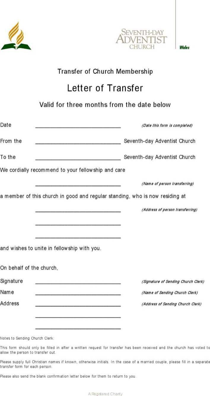 Church Membership Transfer Letter Download Download Sample Transfer Letter Church