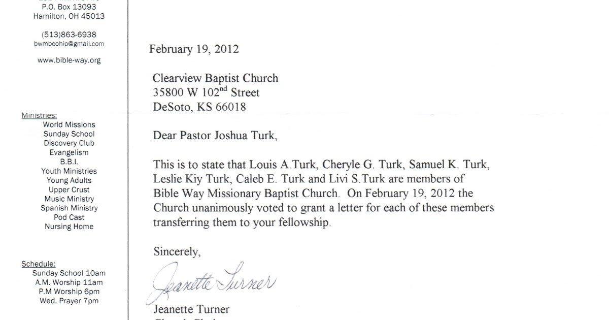 Church Membership Transfer Letter Sample Letter Changing Church Membership