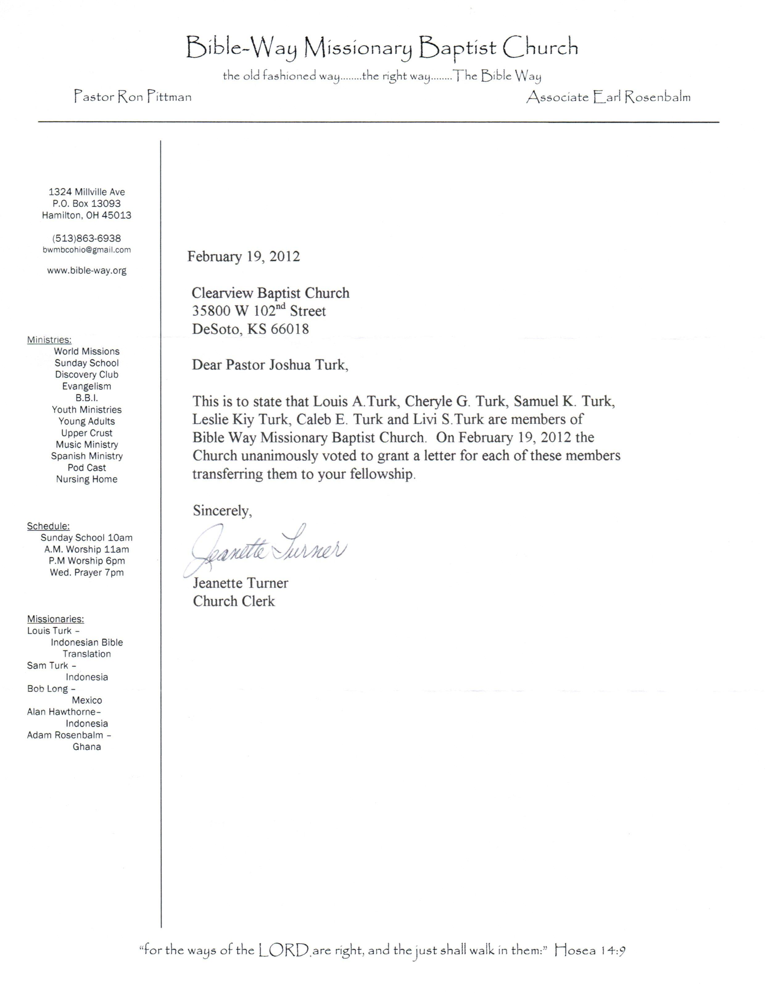 Church Membership Transfer Letter Sample Letter Moving Church Membership
