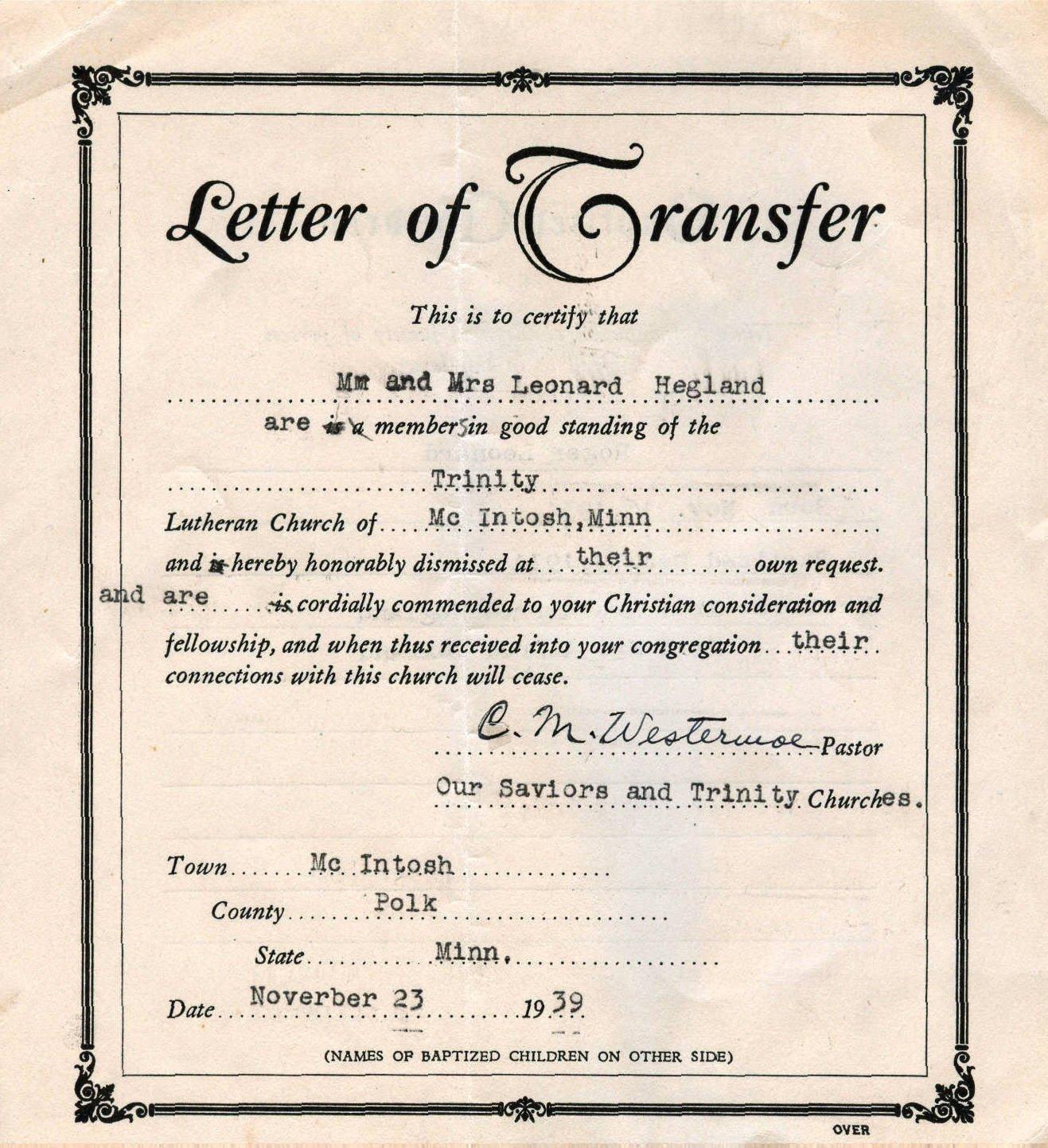 Church Membership Transfer Letter Tracking Leonard and Myrtle S Church Membership