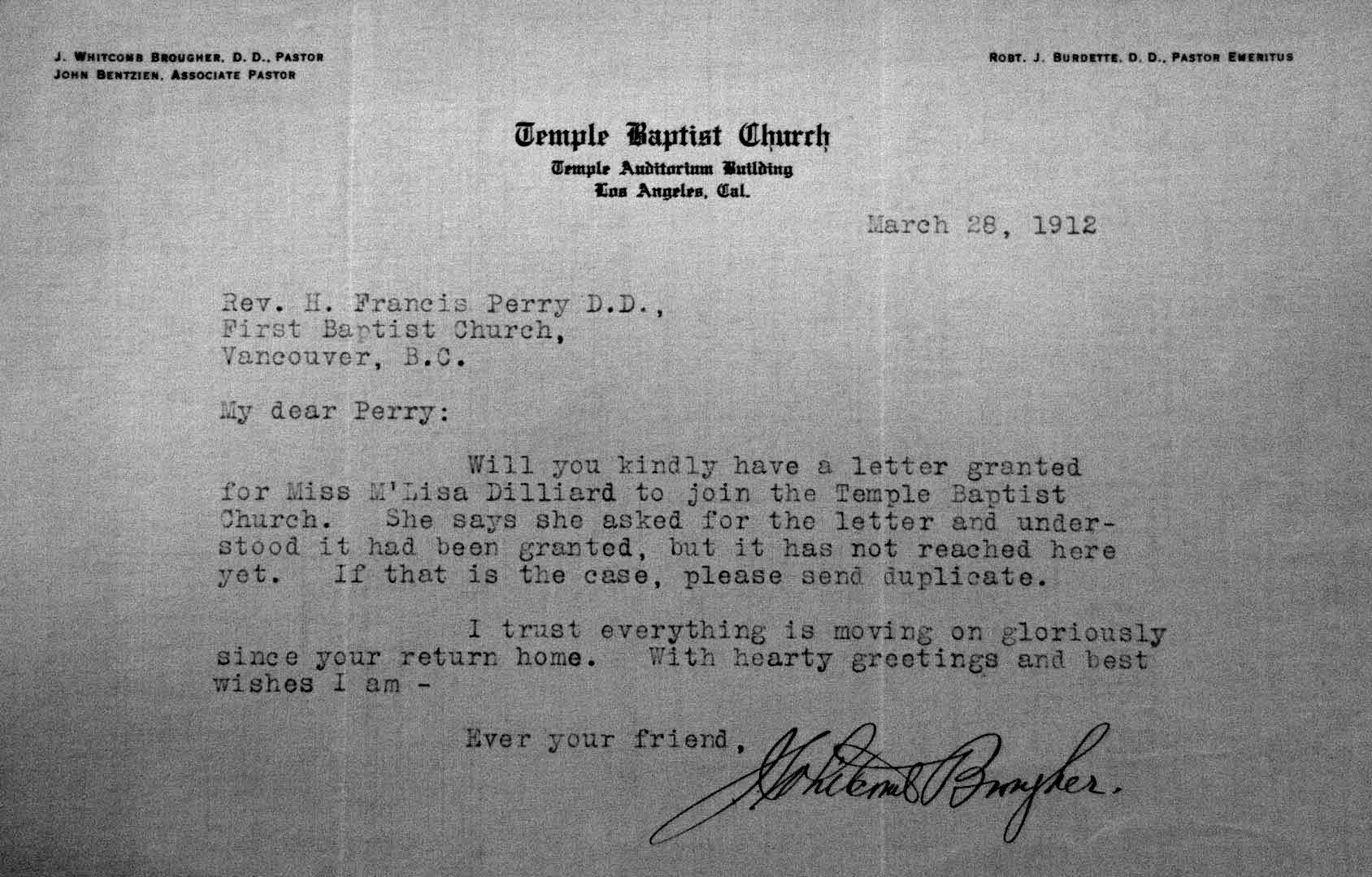Church Membership Transfer Letter Vancouver as It Was A Historical Journey