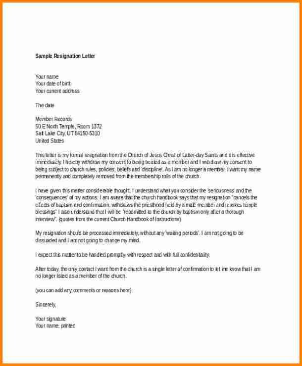 Church Membership withdrawal Letter 5 Church Resignation Letter