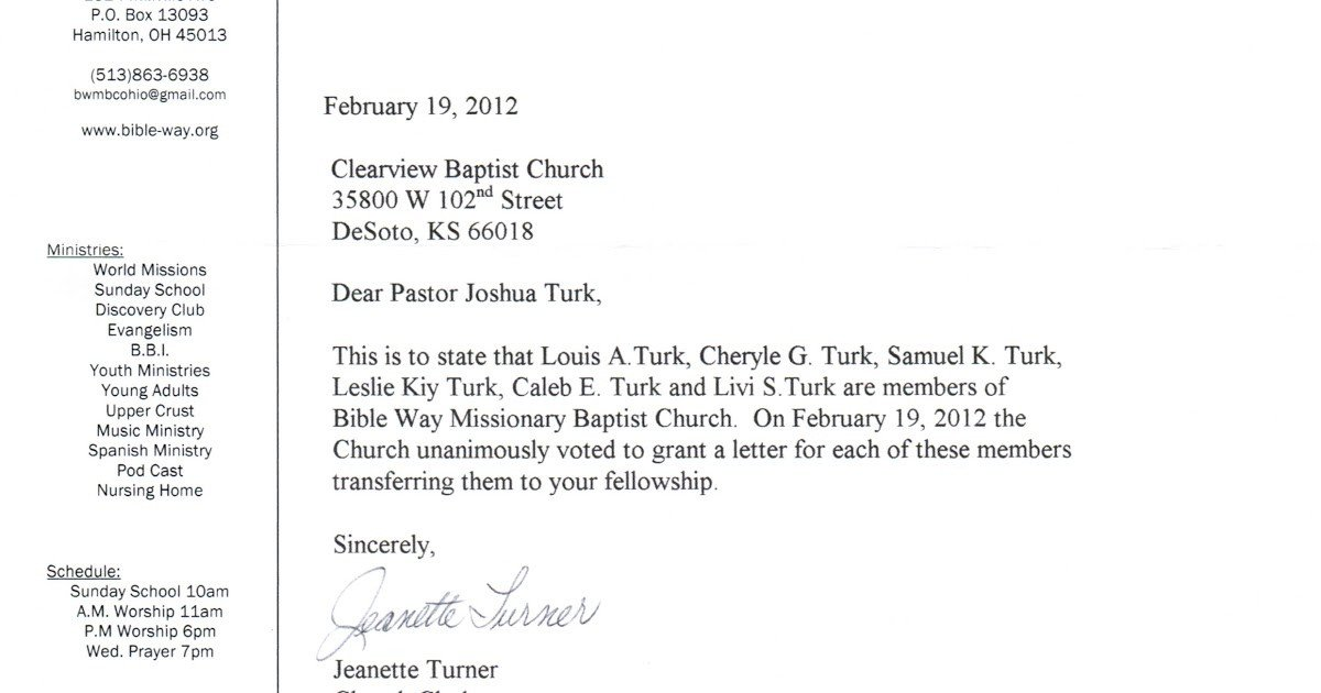 Church Membership withdrawal Letter Sample Letter Changing Church Membership
