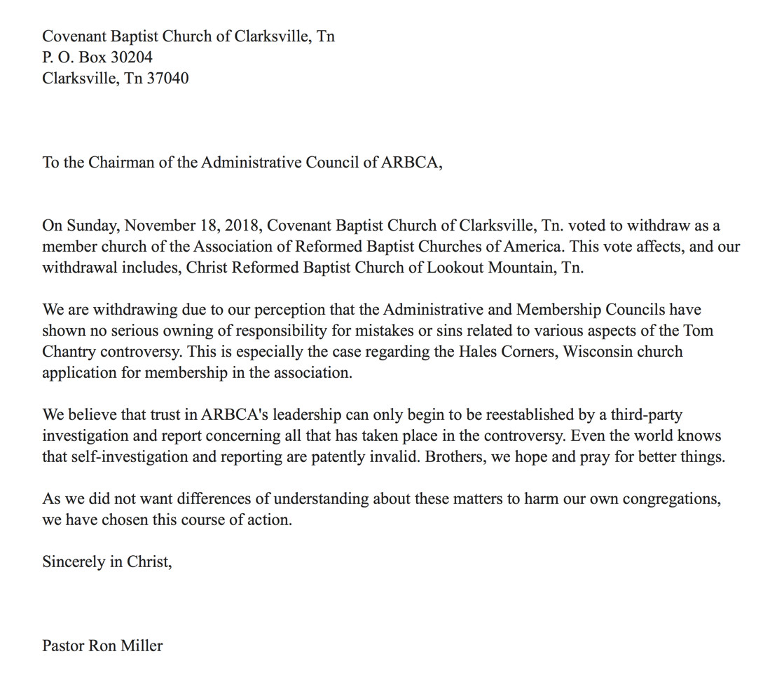 Church Membership withdrawal Letter Three More Churches Resign From Arbca Thou Art the Man