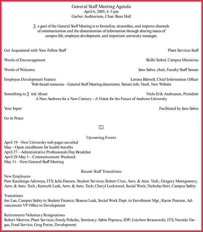 Church Staff Meeting Agenda Template 7 Staff Meeting Agenda Templates Samples In Word & Pdf