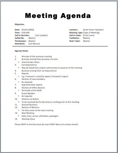 Church Staff Meeting Agenda Template Basic Meeting Agenda Template